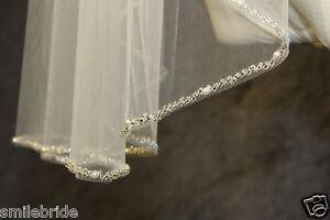 New 1 Tier Beaded Bridal Veil White/ Ivory/Champagne Wedding Veil Fingertip Leng