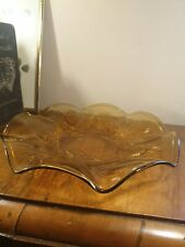 More details for vintage joblings pine cone pattern amber glass dishreg d no 777133
