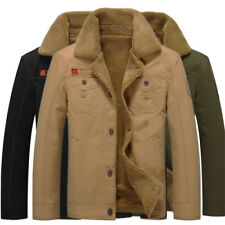 Mens Winter Bomber Wool Lined Military Vintage Air Force Army Warm Jacket