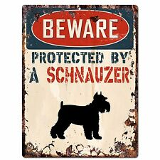 Pp2093 Beware Protected By A Schnauzer Rustic Plate Chic Sign Home Door Decor