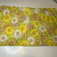 Vintage Floral Pillowcase Bedding yellow tan daisy print standard size