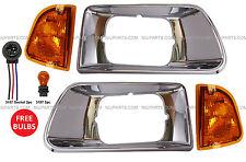 4 Pieces Kenworth T300 Combo- Headlight Bezel Chrome with Corner Lamp LH & RH