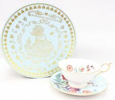"""WEDGWOOD """"HARLEQUIN COLLECTION"""" TURQOISE CROCUS Design CUP & SAUCER Boxed - E28"""