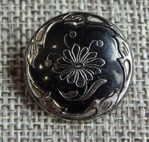 """Antique Vtg Victorian Glass Button  Black & Silver~Apx:7/8""""~#200-E"""