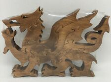 Welsh Dragon Scroll Saw Puzzle - Handmade -10 Pieces - Stained