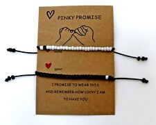 Jardme Pinky Promise Bracelet for 2, Adjustable Distance White and Black