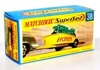 Matchbox Superfast No 38 HONDA MOTORCYCLE AND TRAILER Empty Repro Box style G