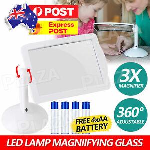 Large Lens Lighted Lamp Desk Magnifier Magnifying Glass with Holder LED Light