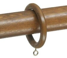 Romantica Wood Wooden Curtain Rings for 50mm Pole Oak Finish. Pack of 2