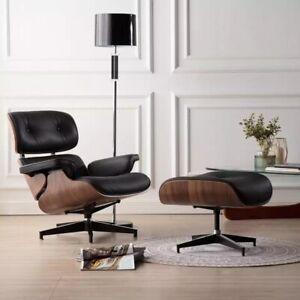 Walnut Black Eams Chair & Ottoman - Full Real Leather Armchair - NEW