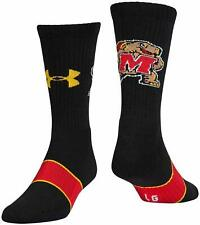 UNDER ARMOUR UA Maryland Terrapins Logo Crew Socks sz L Large (9-12.5) Black