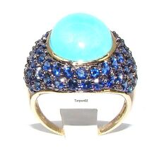 14K Gold Sleeping Beauty Turquoise+Blue Sapphire Domed 3.60ct. Ring  - 7  New