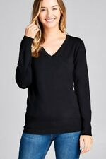 S M L XL Women's Classic V Neck Long Sleeve Light Soft Sweater Knit Top SW3838XL