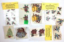 Vtg Christmas Tree Mistletoe Santa Bells Water Slide Ceramic Decal 1960s 1950s
