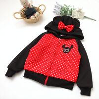 Girls Kids Hooded Jacket Warm Fleece 3D Bow-knot Dot Children Coat Size 2-6Years