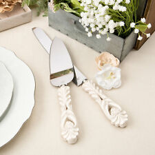 Antique Ivory Cake Knife and Server Set Wedding Event Party Celebration NIB
