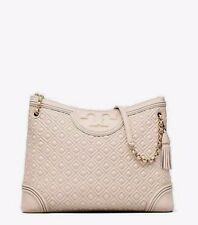 New Tory Burch Fleming diamond Quilted Leather chain Tote Bag,Bedrock,R$595