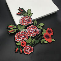 Fabric Applique Rose Peony Flower Embroidery Sew Iron On Patch Badge Clothes AU