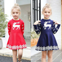 Fashion Kid Baby Girl Christmas Dress Deer Snowflake Winter Knit Sweater Dresses