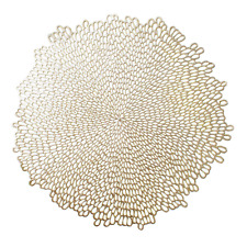 """New listing Benson Mills Blossom Pressed Vinyl Placemat, Set of 4, 15.5"""" , Gold"""
