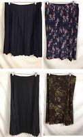 Lot 4 Sz 16 XL Long Modesty Skirts Mix Inc  Pleated Black Floral Sag Harbor