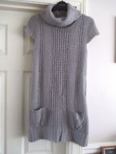 Size 8 E-vie grey short sleeve part crochet knit long jumper/jumper dress LOVELY