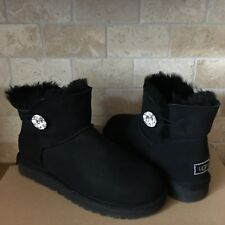 UGG Mini Bailey Button Bling Swarovski Crystal Black Suede Boots Size 11 Womens