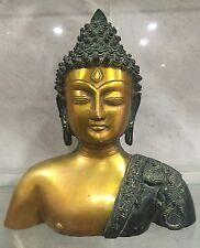 Grand Bouddha Buste 4kg lourd Budha en laiton massif Ornemental méditation