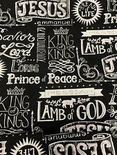 Christian Religious King Of Kings Lord Jesus Faith black and White Cotton fabric