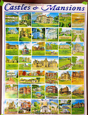 American CASTLES and MANSIONS Poster 33 x 25 by White Mountain 1999 Vintage