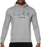 Asics Camou Logo Mens Hoody Grey Gym Running Training Workout Hoodie Sweatshirt