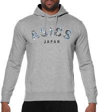 Asics Camou Logo Mens Hoody Grey Gym Running Training Workout Hoodie Sweatshirt