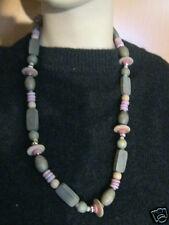 Tolle Halskette Grautöne Natur-Kette Holz grau-rosa 66 cm aus Auflösung 123