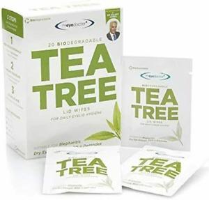 20 Tea Tree Eyelid Wipes Biodegradable Dry Sensitive Eye MGD Demodex Blepharitis