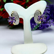 NATURAL PURPLE AMETHYST & WHITE CZ EARRIGNS 925 STERLING SILVER