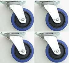 4 x 100mm SL Roulettes Pivotantes Roues Bleu ricin, Rouleaux de Transport NEUF