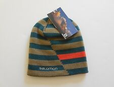 Salomon Stripe Reversible Beanie Hat New