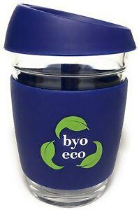 350ml BYO Eco Reusable Shatterproof Glass Non Spill Coffee Cup Travel Mug AGE UK