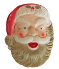 "Vintage 16"" Illuminated Christmas Santa Claus Head Blow Mold Holly & Gold Trim"