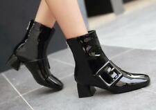 Women Block Buckle Patent Leather College Pointy Toe Ankle Boots Shoes de-01