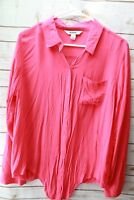 Old Navy Large Pink Rayon Long Sleeve Button Women's Shirt Blouse