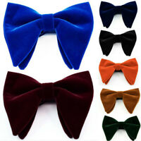 Mens Oversized Velvet Bow Tie Big Bowtie Pre-Tied Wedding Party Ties Bowknots