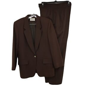 Pendleton Wool Pant Suit Vintage Brown Size 12 / 14 Lined