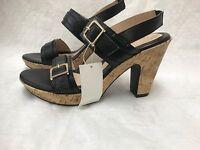 New!! Jaclyn Smith Women's 40743 Maxey Black Cork Heel Sandals E7