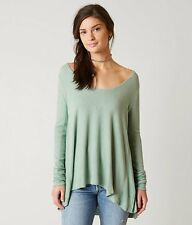 New Free People Malibu Thermal Longsleeve Tee Knit Top Sea Green Size Small S