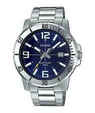 Casio MTP-VD01D-2B Men's Stainless Steel Watch BLUE Date Dial 50M WR NEW MODEL