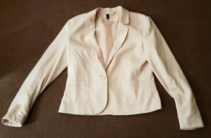 WOMENS PINK BLUSH COLLARED JACKET BY DIVIDED H&M SIZE 14 EUR 40