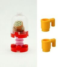 LEGO Biscuit Cookie Sweet Jar with Red & Pink Stand & 2 Yellow Cups NEW