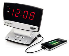 Westclox LED Plasma Screen Alarm Clock with USB Charging Port  71014X
