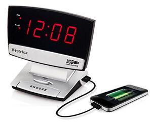 Westclox LED Plasma Screen Alarm Clock with USB Charging Port  71014X